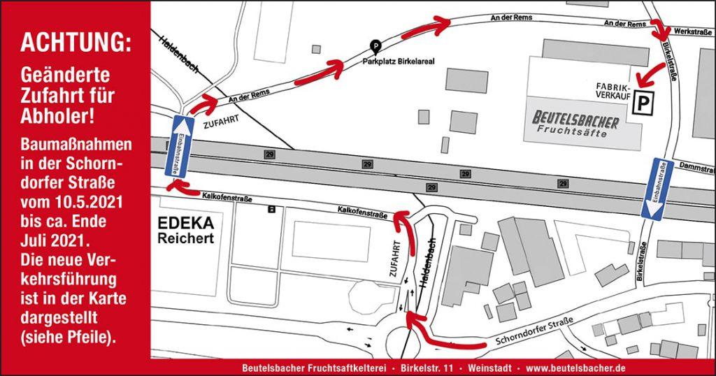 Geänderte Zufahrt zu Beutelsbacher
